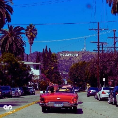 red-car-hollywood-drone-LA-production